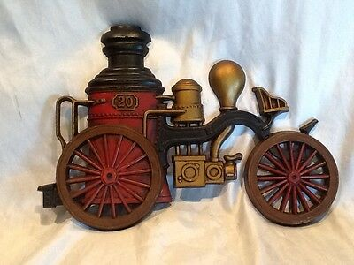 Preowned Vintage 1970 Sexton USA Steam Fire Engine Decorative Metal Plaque #1163