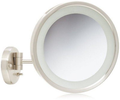 Jerdon HL1016NL 9.5-Inch LED Halo Lighted Wall Mount Mirror with 5x Magnificatio