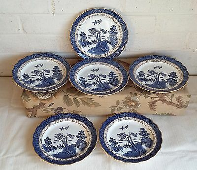 """Lovely Set Of 6X Vintage Booths Real Old Willow 8"""" Side Plates, Excellent Cond."""