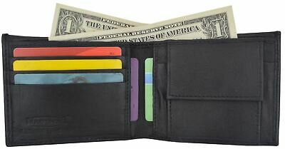Slim Mens Soft Lamb Leather Bifold Thin Wallet Card Holder Coin Change Pocket