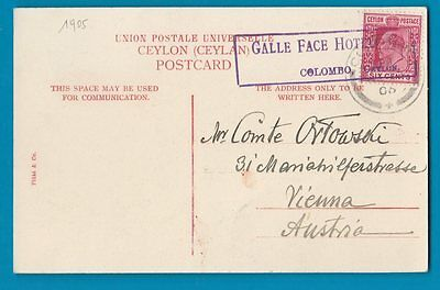 Old 1906 Postcard with special RARE Hotel postmark Ceylon  #361