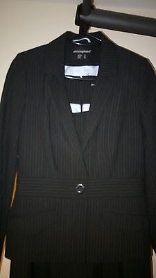 Womens Ladies Blazer And Dress 2 piece lined suit Size 12-14 Navy Blue Pinstripe