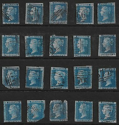 (ST074) GB QV - Selection of 20 x SG45 2d Blue Plates 7/8/9 - inc. PO Cancels