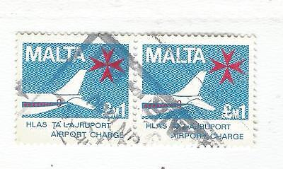 MALTA  AIR PORT STAMPS  2x LM1  BLUE/Red