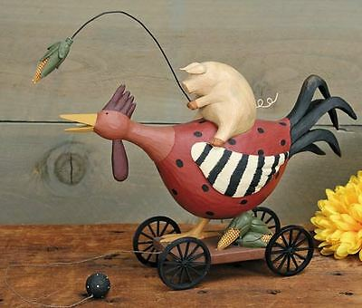"""Pig Riding a Rooster Pull Toy -""""Red Rover"""" - Williraye - 7896"""