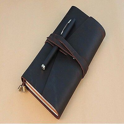Retro Notebook Pu Leather Journal Cover Blank Diary Exercise Book Travel Notepad