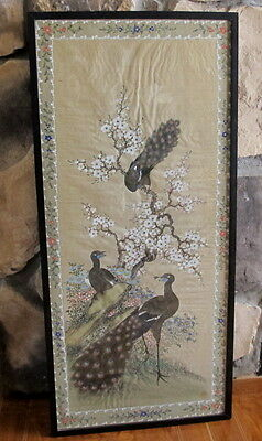 Antique Chinese Hand Painted on Silk Floral w/Peacocks Framed Artist Signed 33""