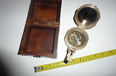 Vintage Stanley London Brass Natural Sine Maritime Compass With Inlaid Box - Vgc