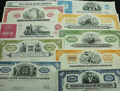 COLLECTION with 10 different U.S. Shares & Bonds Certificates LOT-23