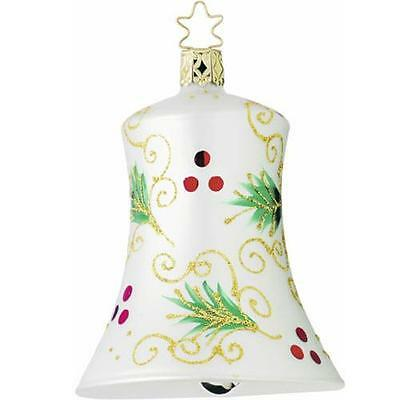 """Inge Glas """"HOLLY BOUGHS BELL"""" Large German Blown Glass Christmas Bell Ornament"""