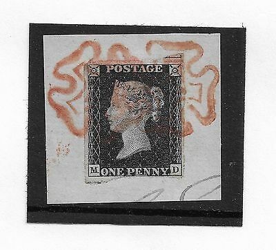 (ST905) GB QV - SG2 1d Black Plate 7 - 3+M - Used on Piece with MX Cancels (M-D)