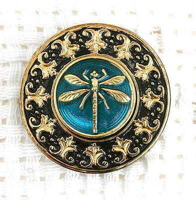 1 UNIQUE Glass Button #G338 - DRAGONFLY - LARGE (34 mm) - WOW!!!