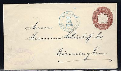 Costa Rica PSE Envelope San Jose to Great Britain 1896 a510