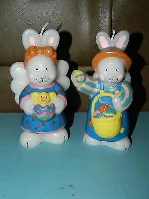 "Lot of 2 Vintage Easter Bunny Rabbit Candles 6.5"" Tall UNUSED!"