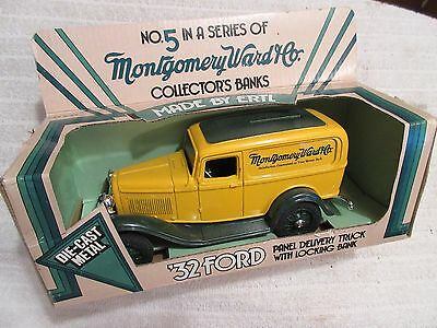 die-cast Ertl 1932 Ford Panel Delivery Truck coin bank toy with box lot 3