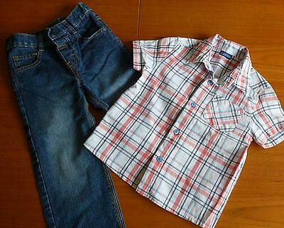 Boys Age 3-4 Check Shirt and Denim Jean Outfit 100% Cotton - Cherokee