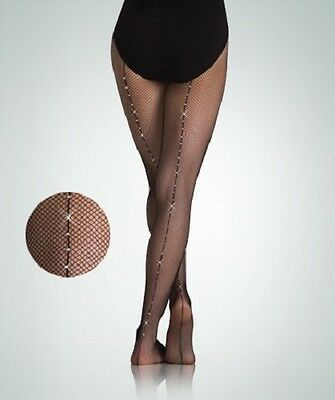 Body Wrappers A64 Women's S/M Black Stretch Rhinestone Back Seam Fishnet Tights