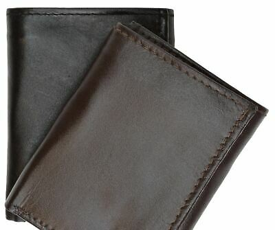 Mens Trifold Leather Credit Card Holder Wallet W/ Zippered Pockets & ID Window