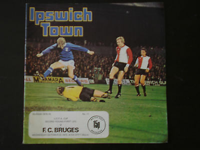 Ipswich Town v Liverpool 1975/6, Bruges, Manchester City 1977/8 x3 programmes