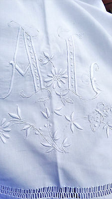 Stunning French pure linen trousseau dowry sheet Monogrammed  A L