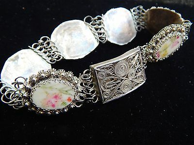 """ANTIQUE Chinese Hand Painted  800 SILVER Filigree Floral Dragonfly BRACELET 7.5"""""""
