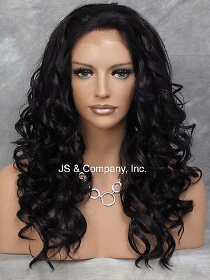 HEAT SAFE Wavy Curly Lace Front Wig Long Soft Off Black IS 1B