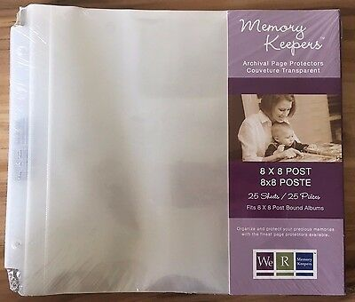 8x8 We-R Memory Keepers Post Bound Scrapbook Refill Pages 50061-2 25/Pk(Notches)