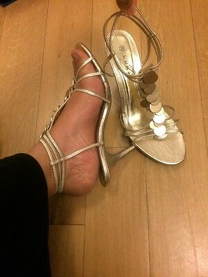 Ladies LUNAR sz uk 5.5,eu 39,Gold,strappy ,ankle strap,peep toe ,eve shoes ,heel