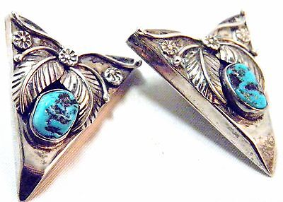 Silver & Turquoise J. Begay Collar Tips