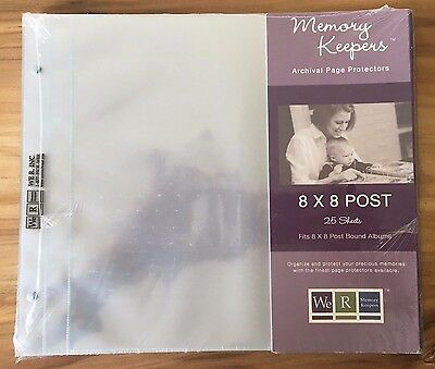 8x8 We-R Memory Keepers Post Bound Scrapbook Refill Pages 50056-8 25/Pk (blueish