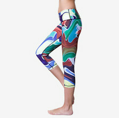 Ladies Womens Running Fitness Gym Yoga Compression 3/4 Leggings Oil size 6 - 8