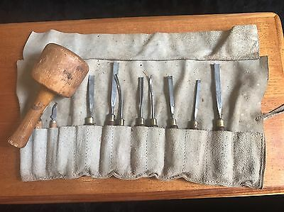 Vintage Marples Wood Carving Chisel Set With Leather Roll & Mallet