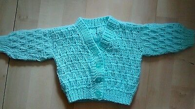 Hand knitted patterned boys mint green button cardigan new born new