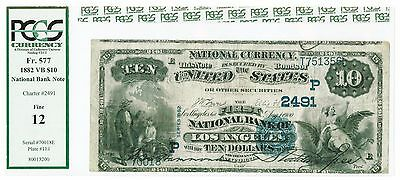 PCGS  F12 1882 Los Angeles, CA VB $10 National Bank Note Charter# 2491 (160)