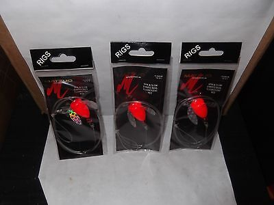 3 Matzuo MR2054 Spin & Glow Striped Bass  Rig Fluor. Red with Mono Leader 100#