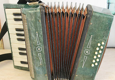 Accordion  antique for children  green USSR RUSSIA  SUGGEST YOUR PRICE