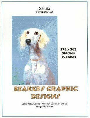 SALUKI Counted Cross Stitch detailed #1007