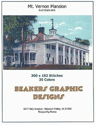 MT. VERNON MANSION Counted Cross Stitch detailed #0471