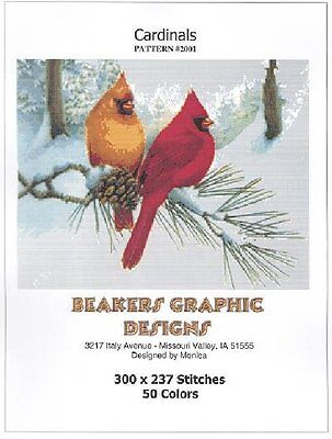 CARDINALS Counted Cross Stitch detailed #2001