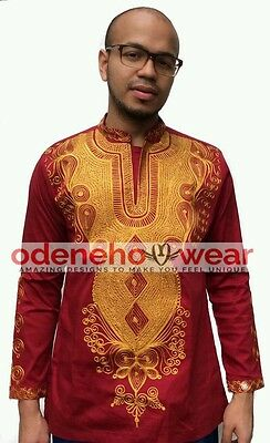 Odeneho Wear Men's Polished Cotton Top/Gold Embroidery. African Clothing.