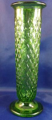Vintage Green Stem Vase Diamond Pattern- E. O. Brody Co. #919 ~ USA