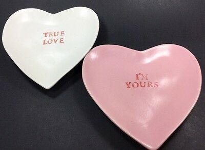 2 Pottery Barn Valentine Ceramic Conversation Hearts PLATES Pink White I'm Yours