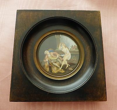 Antique French Miniature Painting In Frame - Romantic Humor - Nude Erotica