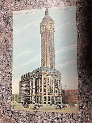 Vintage Post Card Singer Sewing Machine Building New York NY