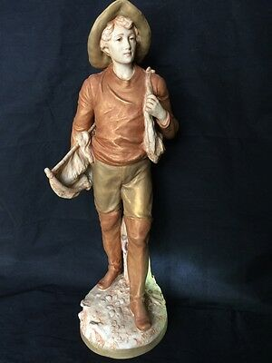 Stunning Vintage Huge ROYAL DUX Fisherman Figurine 21''