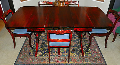 Gorgeous 3 Pedestal Two Leaf Drop Duncan Phyfe Dining Table W