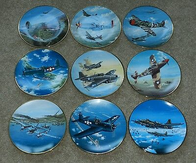Lot of 9 Great Fighter Planes of WWII Collectors Plates