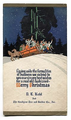 **NICE** Charming Goodyear Tire and Rubber Co. Christmas Card c.1922 D. L. Kahl