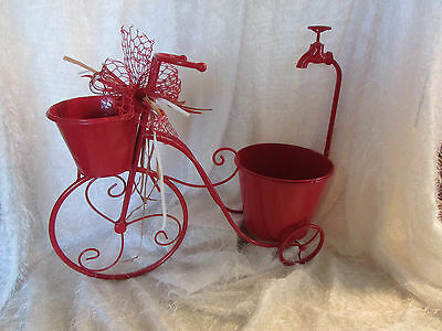 tricycle planter, red metal w/2pots & cute faucet