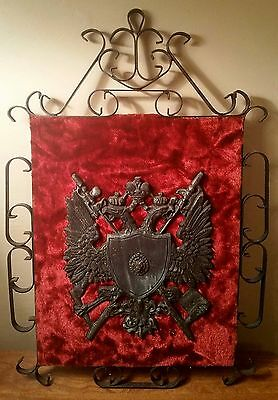 Vintage Crest Sheild Coat of Arms Wall Plaque with Gothic Wrought Iron Frame